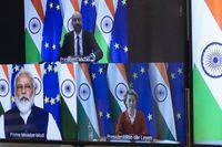 Indiens premiärminister Narendra Modi under videotoppmötet med EU-ledarna Charles Michel och Ursula von der Leyen i mitten av juli. Under mötet beslutades om närmare samarbeten mellan EU och Indien.