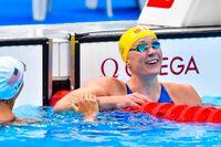 Sarah Sjöström reagerar på sin kanontid i OS-försöken – snabbaste loppet på fyra år.
