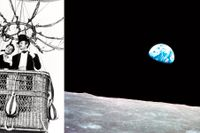 """Till vänster David Niven som Phileas Fogg i en film från 1956. Till höger fotot """"Jorduppgång"""", taget från Apollo 8."""