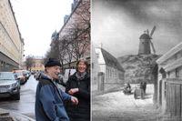 Målning från 1850 som visar det som nu är Nybrogatan i riktning mot Kammeckerska kvarnen på Tyskbagarbergen. Målning av okänd konstnär. Tyskbagarbergen syns fortfarande inne i husen på Nybrogatan, där Boris Blomster och Karin Schluter bor.