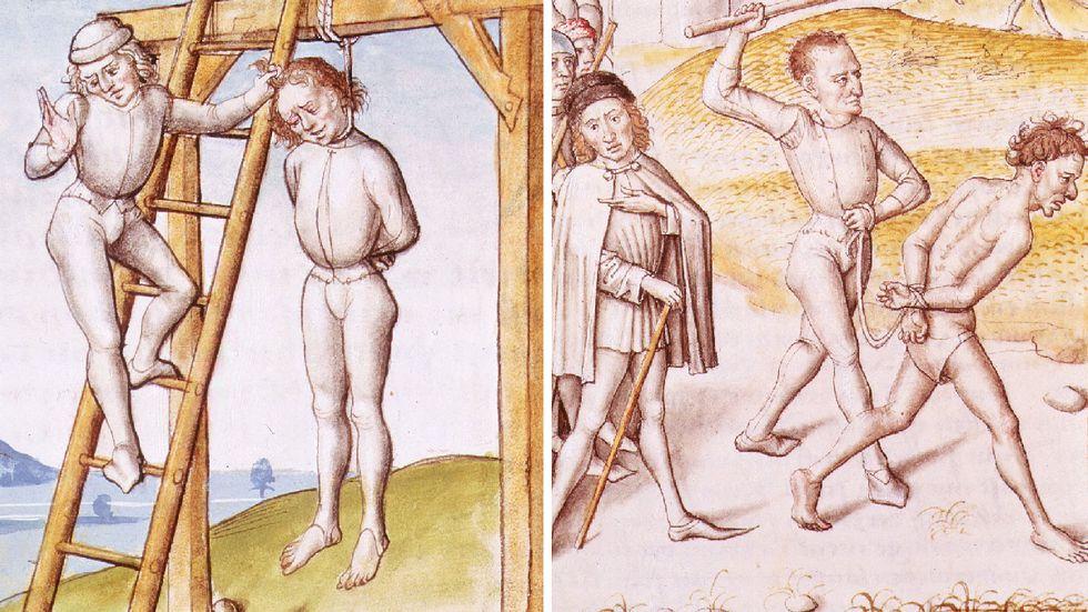 """Medeltida rättsskipning illustrerad i den tyska utgåvan av """"Bidpais fabler"""" från 1480."""