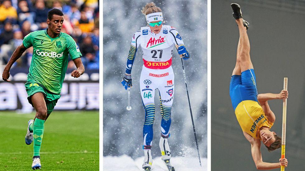 Alexander Isak, Frida Karlsson och Armand Duplantis.