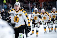 Albin Eriksson jublar efter sitt andra och matchavgörande mål i Skellefteås 3–2-seger mot Frölunda.
