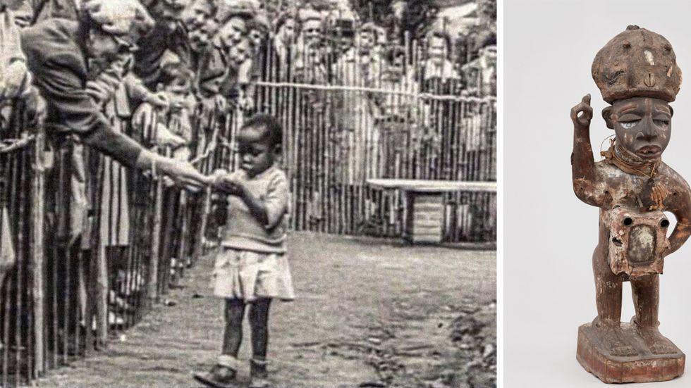 En kongolesisk flicka erbjuds en banan på världsutställningen i Bryssel 1958. Till höger en kongolesisk kraftstaty.