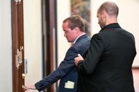 Kent Ekeroth under rättegången vid Stockholms tingsrätt. Ekeroth är dömd till dagsböter för ringa misshandel i en krogkö. Arkivbild.