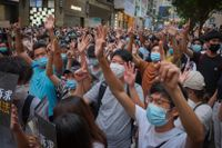 Demonstrationer mot Pekings nya säkerhetslag i Hongkong i veckan.