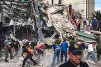 Människor söker efter överlevande under kollapsade byggnader.