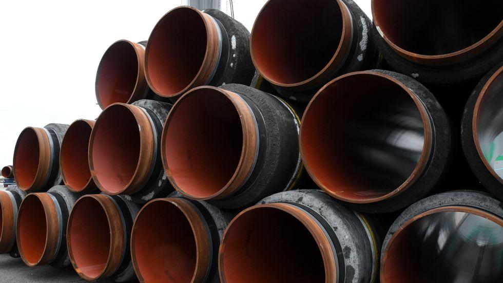Nord Stream 2 har bland annat använt svenska hamnar för att lagra gasledningskomponenter under bygget. Arkivbild