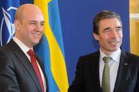 Statsminister Fredrik Reinfeldt tar emot Natos generalsekreterare Anders Fogh Rasmussen på regeringshögkvarteret