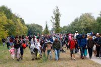 Flyende människor har ibland vandrat längs bilvägar ända från Grekland, här syns flera gå mot Österrikes gräns.