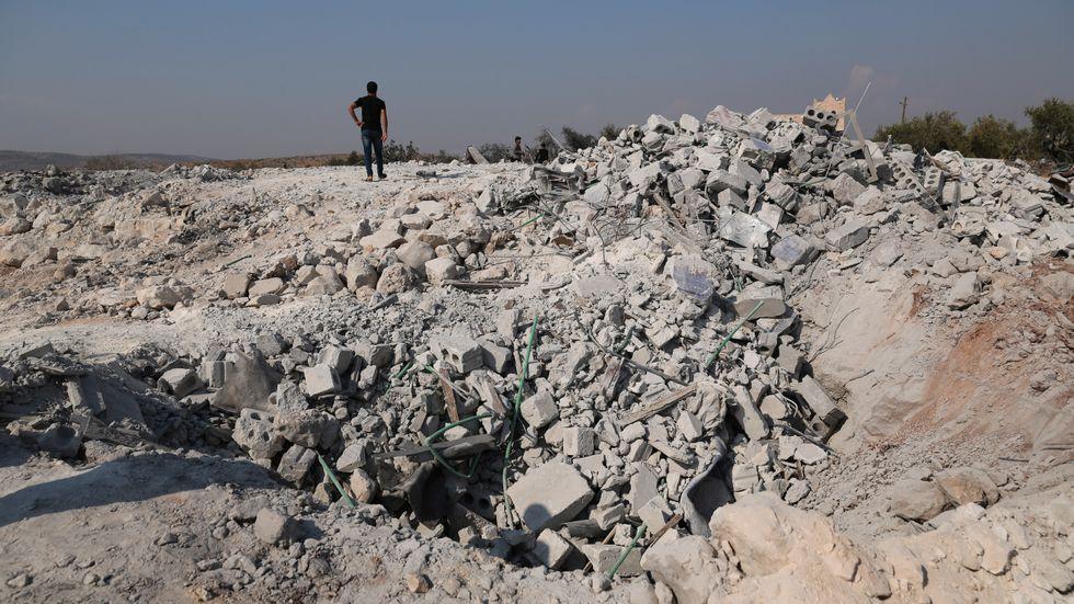 Byn Barisha, i Idlib-provinsen, efter USA:s räd mot IS-ledaren Abu Bakr al-Baghdadi.