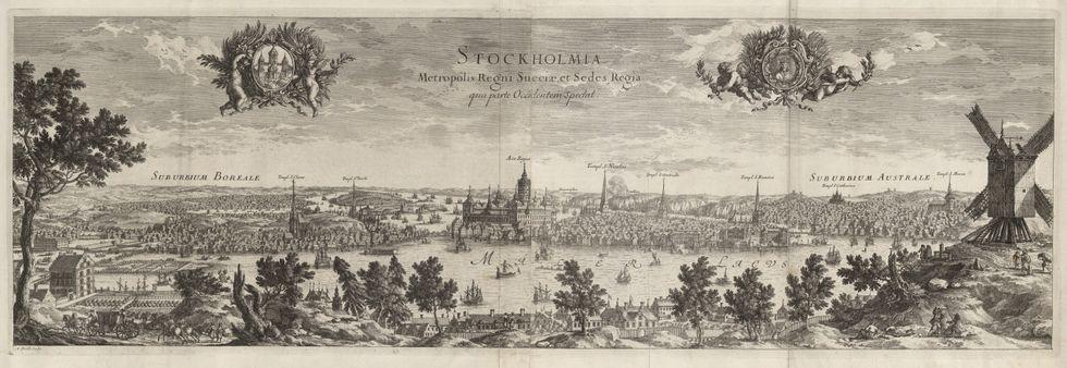 """Stockholm från väster, ur """"Suecia antiqua et hodierna""""."""