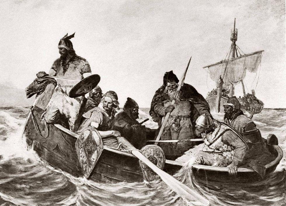 Vikingar vid Island, av den norska konstnären Oscar Wergeland 1877.
