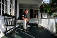 Peter Hanson på klubbhusets veranda på Augusta där US masters avgörs i påskhelgen.