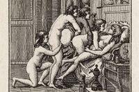 "Anonym illustration till markis de Sades ""Justine och Juliette"" (beskuren)."