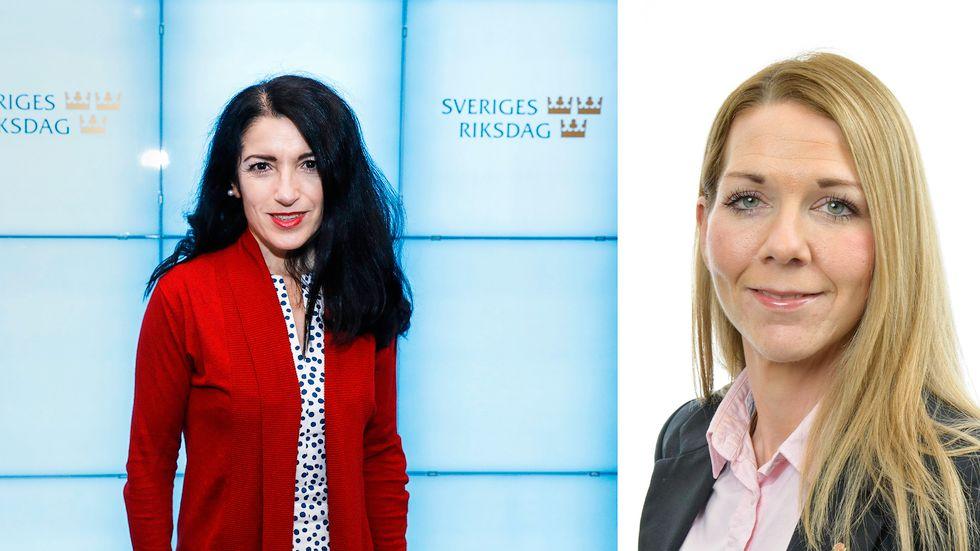 Amineh Kakabaveh (vilde) och Sara Heikkinen Breitholtz (S).