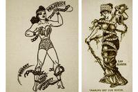 Wonder Womans kedjor skulle symbolisera patriarkatets förtryck och inspirerades av suffragettrörelsens bilder (till höger), men fick också fetischistiska tolkningar.