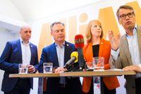 Fredrik Reinfeldt (M), Jan Björklund (FP), Annie Lööf (C) och Göran Hägglund (KD) då Alliansens partiledare håller presskonferens innan de äntrar scenen i Kungsträdgården i Stockholm under lördagens valspurt.