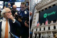 Handlaren Peter Tuchman väntar på besked om vad Spotifys aktie landar på.