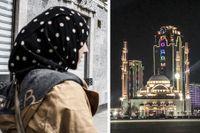 Zagidat Abakarova var 29 år när hon reste in i Syrien från Turkiet. Hon födde två barn i kalifatet. Till höger: Tjetjeniens huvudstad Groznyj.