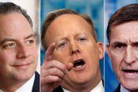 Stabschefen Reince Priebus, presschefen Sean Spicer och nationella säkerhetsrådgivaren Michael Flynn.