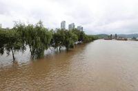 En översvämmad flod i den sydkoreanska huvudstaden Seoul på söndagen.