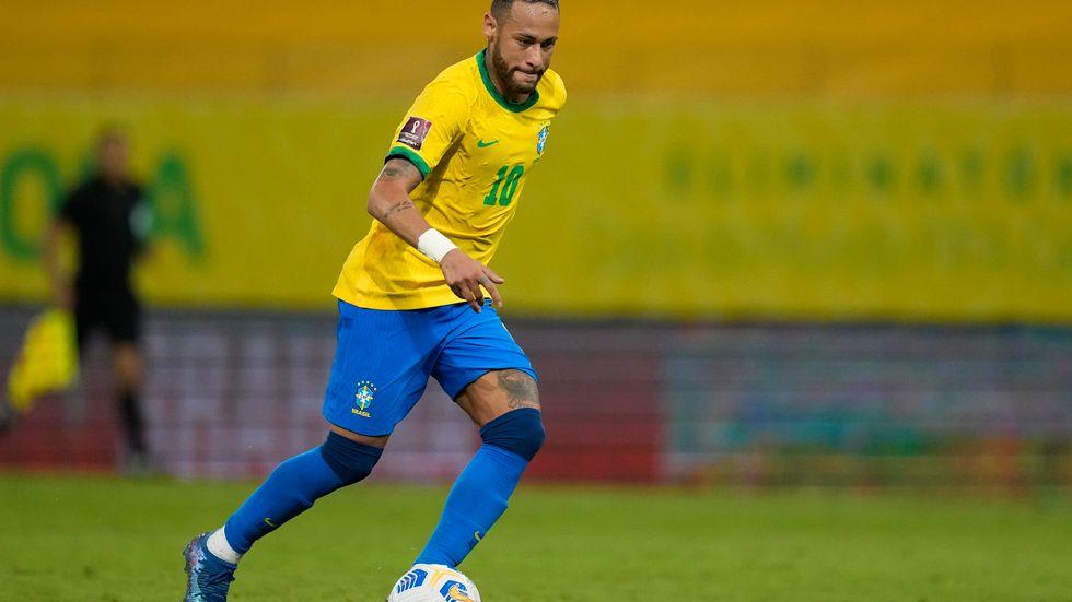 Neymar i VM-kvalmatchen mot Peru. Arkivbild.