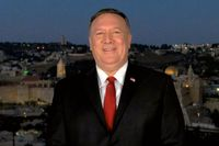 """USA:s utrikesminister Mike Pompeo hyllade avtalet mellan Israel och Förenade arabemiraten i ett klipp från Jerusalem, under Republikanernas partikonvent. """"Det här avtalet kommer våra barnbarn att läsa om i historieböckerna."""""""
