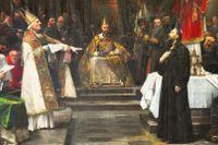 Jan Hus döms till döden inför påven vid konciliet i Konstanz 1415, från en målning av Václav Brožík.