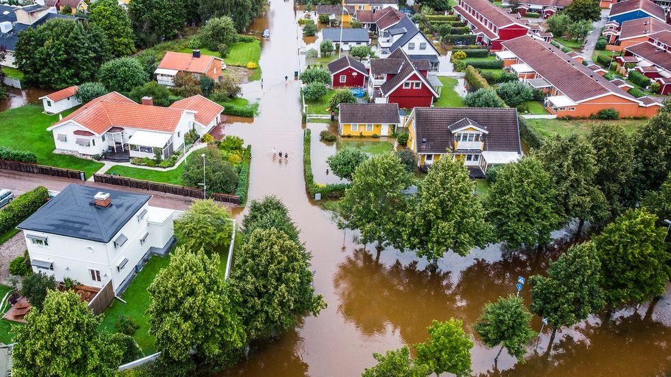 Villaområdet Hemlingby i Gävle, efter onsdagsnattens kraftiga skyfall.