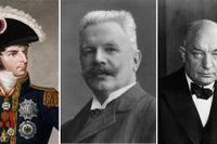 Hjältar i Svante Nordins historieskrivning: Karl XIV Johan, Karl Staaff och Per Albin Hansson.