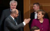 Martin Schulz och Angela Merkel under regeringsförhandlingar.