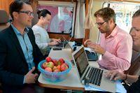 Sverigedemokraternas Jimmie Åkesson intervjuas av SvD:s Frida Svensson, Tobias Brandel och Jenny Stiernstedt.
