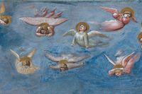 """Detalj ur Giotto di Bondones fresk """"Lamento (Il Compianto di Cristo)"""" där himlen täcks av sörjande änglar."""