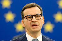 Polens premiärminister Mateusz Morawiecki talar inför EU-parlamentet i Strasbourg.