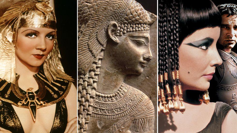 Claudette Colbert, en Kleopatra-avbild från tiden då drottningen levde, samt Elizabeth Taylor.