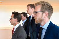 Alliansen meddelar att de hoppat av bostadssamtalen. Från vänster, de ekonomiskpolitiske talespersonerna Ulf Kristersson (M), Erik Ullenhag (L), Emil Källström (C) och Jakob Forssmed (KD).
