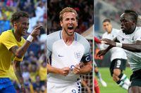 Tre väntade höjdare i VM: Neymar, Harry Kane och Sadio Mané.