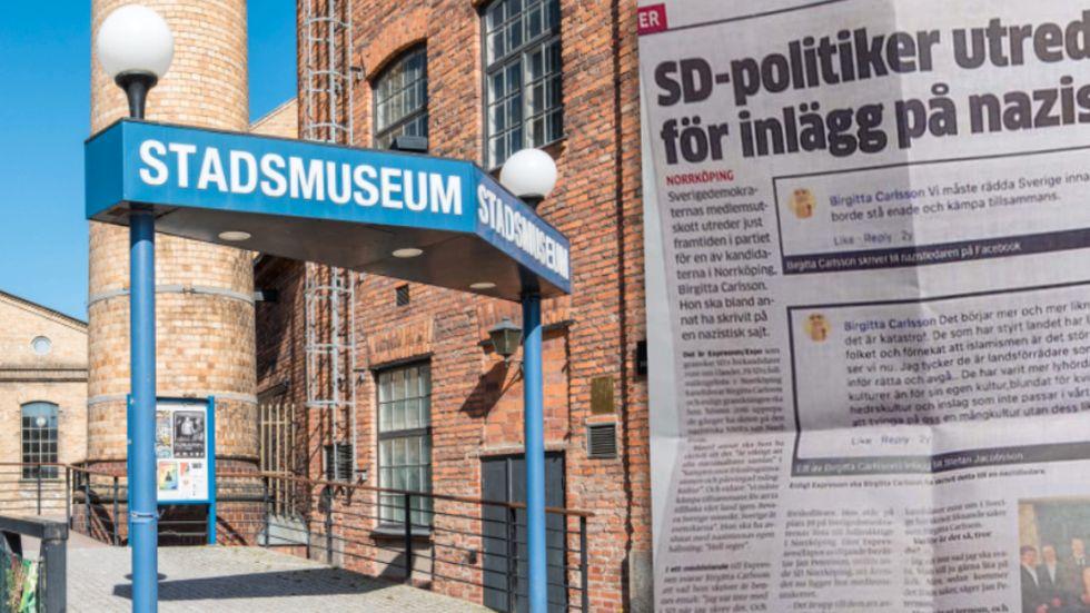 Norrköpings stadsmuseum ställer ut om nazismen då och nu. Efter SD:s polisanmälan har ett tidningsklipp i utställningen plockats ner.