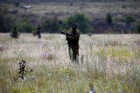 En pro-rysk separatist bevakar nedslagsplatsen.
