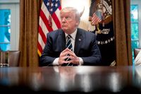 Drygt hälften av amerikanerna anser i en färsk opinionsundersökning att president Trump agerar fel i Rysslandsfrågan. Här väntar presidenten på att möta media i Vita huset efter sin hemkomst från mötet med Vladimir Putin i Helsingfors. Bilden är från 17 juli.
