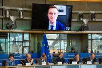 Ryske oppositionspolitikern Aleksej Navalnyj i ett framträdande via videolänk i EU-parlamentet 2018. Arkivbild.
