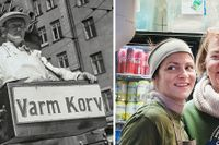 """Till vänster en klassisk korvgubbe i Stockholm med låda på magen – till höger Inga Fortkord och Caroline Gustafsson som """"för korvarvet vidare""""."""