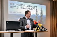 Stefan Löfven på presskonferensen på tisdagen.