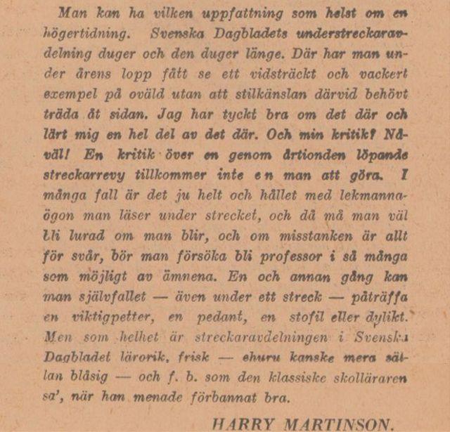 Harry Martinson om understreckarna i jubileumsnumret av SvD på tidningens 50-årsdag 15/12 1934.