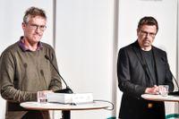 Anders Tegnell, statsepidemiolog vid Folkhälsomyndigheten och Svante Werger, särskild rådgivare vid MSB.