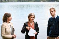 Klimatminister samt vice statsminister Isabella Lövin, miljöminister Karolina Skog och utbildningsminister Gustav Fridolin presenterar under en pressträff en kommande budgetsatsning för att förebygga torka och låga grundvattennivåer.