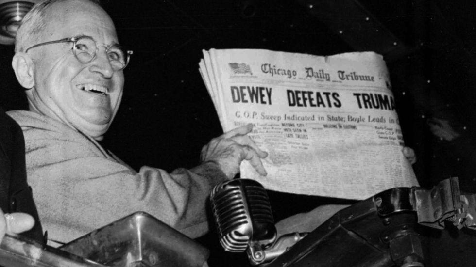 Chicago Daily Tribune var en av alla nyhetsförmedlare som litade för mycket på en opinionsmätning.