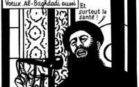 Charlie Hedbo lade ut denna teckning på sitt Twitter- och Facebookkonto strax före attacken; en Gott nytt år-hälsning föreställande IS-ledaren al Baghdadi där han önskar god hälsa.