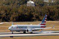 På bilden syns ett Boeing 737 Max-flygplan på den internationella flygplatsen i Tampa i Florida i USA. Arkivbild.